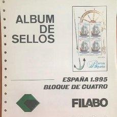 Sellos: BLOQUE DE 4 HOJAS FILABO ESPAÑA AÑO 1995 MONTADAS EN TRANSPARENTE HFB90 1995. Lote 280557448