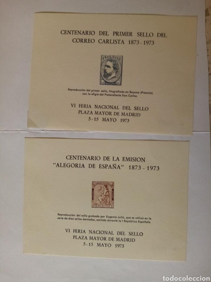 VI FERIA NACIONAL DEL SELLO 1973. HOJAS RECUERDO. ALEGORIA DE ESPAÑA Y CORREO CARLISTA (Sellos - Material Filatélico - Hojas)