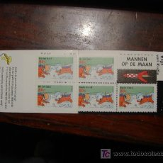 Sellos: HOJA DE 5 SELLOS DE TINTIN EN LA LUNA - HOLANDA 1999. Lote 263111835