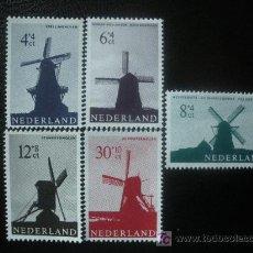 Sellos: HOLANDA 1963 IVERT 769/73 *** MOLINOS DE VIENTO. Lote 27519333
