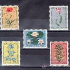 Sellos: HOLANDA 719/23 CON CHARNELA, FLORES, . Lote 19777582