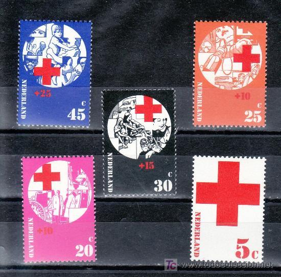 HOLANDA 966/70 SIN CHARNELA, CRUZ ROJA, (Sellos - Extranjero - Europa - Holanda)