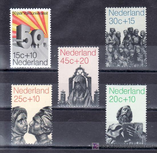 HOLANDA 927/31 CON CHARNELA, ESCULTURA, 50 ANIVº FUNDACION UNIVERSIDAD POPULAR (Sellos - Extranjero - Europa - Holanda)