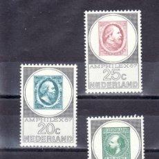 Sellos: HOLANDA 852/4 SIN CHARNELA, CENTENARIO DEL SELLO, AMPHILEX, EXP. FILATELICA INTERNACIONAL AMSTERDAM. Lote 21033653