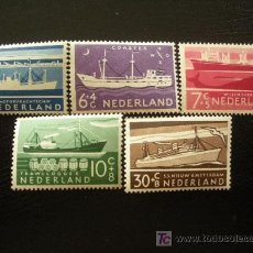 Sellos: HOLANDA 1957 IVERT 666/70 *** BARCOS. Lote 26205533
