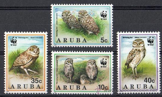 ARUBA AÑO 1994 YV*** MI 134/37*** WWF - CONSERVACIÓN DE LA FAUNA - AVES - BUHOS (Sellos - Extranjero - Europa - Holanda)