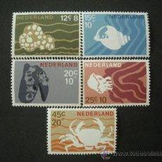 Sellos: HOLANDA 1967 IVERT 845/9 *** FAUNA MARINA - CRUSTACEOS. Lote 25243030