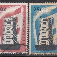 Sellos: HOLANDA IVERT 659/60, EUROPA 1956, USADO (SERIE COMPLETA). Lote 27934490