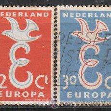 Sellos: HOLANDA IVERT 691/2, EUROPA 1958, USADO (SERIE COMPLETA). Lote 27934545