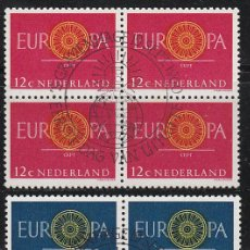 Sellos: HOLANDA IVERT 726/7, EUROPA 1960, USADO EN BLOQUE DE 4 (SERIE COMPLETA). Lote 27934629
