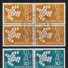Sellos: HOLANDA IVERT 738, EUROPA 1961, USADO EN BLOQUE DE 4 (SERIE COMPLETA). Lote 27934683