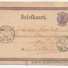 Sellos: ENTERO POSTAL. BRIEFKAART. NEDERLAND. CIRCULADO AMSTERDAM - ROTTERDAM EN 1872. . Lote 30583470