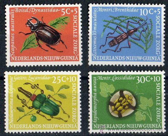 NUEVA GUINEA HOLANDESA AÑO 1961 YV 64/67*** FAUNA - ESCARABAJOS - INSECTOS - NATURALEZA (Sellos - Extranjero - Europa - Holanda)