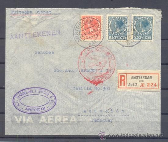 1935.- AMSTERDAN (HOLANDA) A ASUNCION (PARAGUAY) (Sellos - Extranjero - Europa - Holanda)