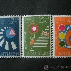 Sellos: ANTILLAS HOLANDESAS 1973 IVERT 451/3 *** PRO OBRAS SOCIALES Y CULTURALES - PREVENCIÓN EN CARRETERA. Lote 35813763