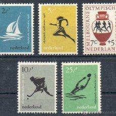 Sellos: PAÍSES BAJOS HOLANDA AÑO 1956 YV 654/58*** JUEGOS OLÍMPICOS DE MELBOURNE - DEPORTES. Lote 42007035