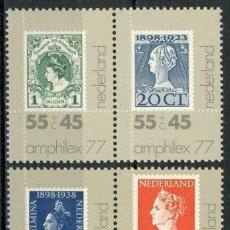 Sellos: HOLANDA 1977 IVERT 1072/75 *** AMPHILEX 77 - EXPOSICIÓN FILATÉLICA INTERNACIONAL. Lote 73814491