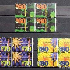 Sellos: HOLANDA 1992 • YT 1400-1402 ** NUEVO ** • SERIE PRO CULTURA: FLORIADE '92 EN BLOQUES DE 4. Lote 139704594