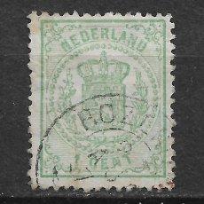 Sellos: HOLANDA 1869 SC# 19 1C GREEN USED - 1/26. Lote 143343334