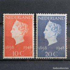 Sellos: HOLANDA 1948 ~ ANIVERSARIO WILHELMINA ~ SERIE NUEVA MNH. Lote 157446878