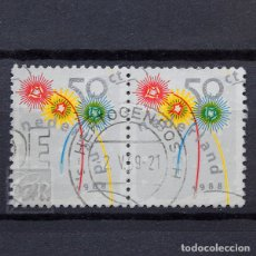 Sellos: HOLANDA 1988 ~ NAVIDAD ~ PAREJA HORIZONTAL USADA BUENO. Lote 176404949
