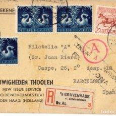 Sellos: 9 TARJETAS NOVEDADES SERVICIO FILATELICO. HOLANDA. 1943-4. CENSURA GUBERNATIVA BARCELONA.. Lote 179945635