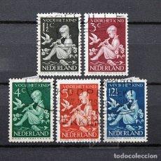 Sellos: HOLANDA 1938 ~ PRO INFANCIA: NIÑO CON FLAUTA ~ SERIE USADA BUENO. Lote 180136155