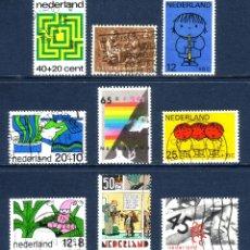 Sellos: R/19669, LOTE DE 9 SELLOS USADOS * DE -HOLANDA-, TODOS CON SOBRETASAS Y DIFERENTES. Lote 180326638