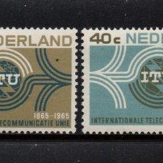 Sellos: HOLANDA 814/15** - AÑO 1965 - CENTENARIO DE LA UNION INTERNACIONAL DE TELECOMUNICACIONES. Lote 181500431