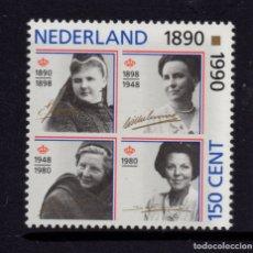Sellos: HOLANDA 1359** - AÑO 1990 - 100º AÑOS DEL REINADO FEMENINO EN HOLANDA. Lote 181588835