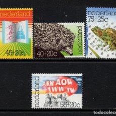 Sellos: HOLANDA 1036/39** - AÑO 1976 - FAUNA - RANAS - PRO INSTITUCIONES CULTURALES. Lote 182394108