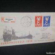 Sellos: SOBRE PRIMER DIA. EUROPA. AMSTERDAM. 1958.. Lote 185929338