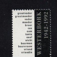 Sellos: HOLANDA 1409** - AÑO 1992 - 50º ANIVERSARIO DE LA ABERTURA DEL CAMPO DE DEPORTACION DE WESTERBORK. Lote 195308183