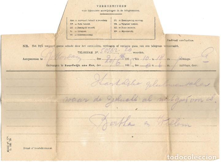 Sellos: TELEGRAMA DE ROTTERDAM A NOORDWIJK AAN ZEE AÑO 1916 - PRIMERA GUERRA MUNDIAL - SELLO RIJKSTELEGRAAF - Foto 2 - 196287325