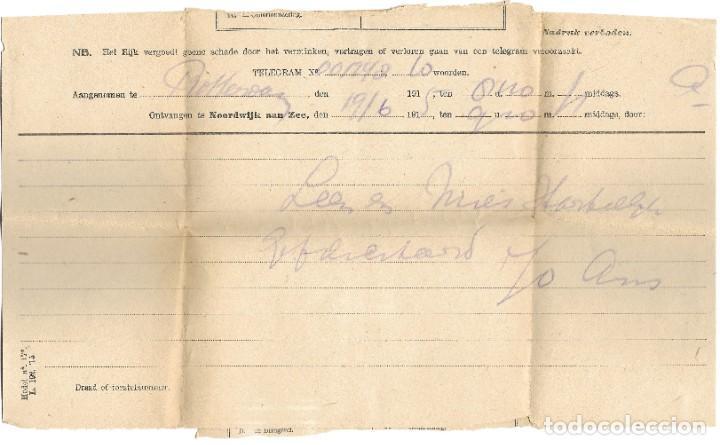 Sellos: TELEGRAMA DE ROTTERDAM A NOORDWIJK AAN ZEE AÑO 1916 - PRIMERA GUERRA MUNDIAL - SELLO RIJKSTELEGRAAF - Foto 2 - 196287527