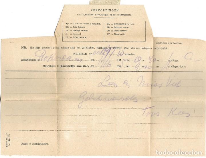 Sellos: TELEGRAMA DE ROTTERDAM A NOORDWIJK AAN ZEE AÑO 1916 - PRIMERA GUERRA MUNDIAL - SELLO RIJKSTELEGRAAF - Foto 2 - 196287683