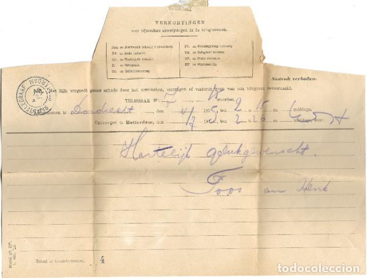 Sellos: TELEGRAMA DE DORDREENT A ROTTERDAM AÑO 1915 - PRIMERA GUERRA MUNDIAL - SELLO RIJKSTELEGRAAF - Foto 2 - 196287862