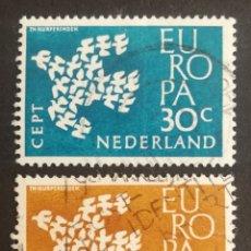 Sellos: HOLANDA, EUROPA CEPT 1961 USADA (FOTOGRAFÍA REAL). Lote 205557550