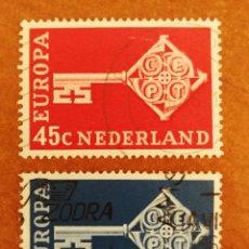 Sellos: HOLANDA, EUROPA CEPT 1968 USADA (FOTOGRAFÍA REAL). Lote 212607828