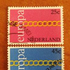 Sellos: HOLANDA, EUROPA CEPT 1971 USADA (FOTOGRAFÍA REAL). Lote 212665673
