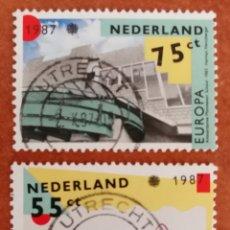 Sellos: HOLANDA, EUROPA CEPT 1987 USADA (FOTOGRAFÍA REAL). Lote 213714902