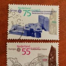 Sellos: HOLANDA, EUROPA CEPT 1990 USADOS (FOTOGRAFÍA REAL). Lote 213729796