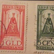 Sellos: LOTE DE 2 SELLOS HOLANDA 1923. CON CHARNELA. CIRCULADOS. DANI. Lote 221696278