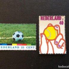 Sellos: HOLANDA Nº YVERT 1001/2** AÑO 1974. DEPORTES. FUTBOL Y TENIS. SERIE CON CHARNELA. Lote 222508178