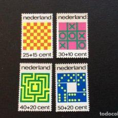 Sellos: HOLANDA Nº YVERT 990/3** AÑO 1973.JUEGOS. AJEDREZ,3 EN RAYA,LABERINTO Y DOMINO. SERIE CON CHARNELA. Lote 222613528