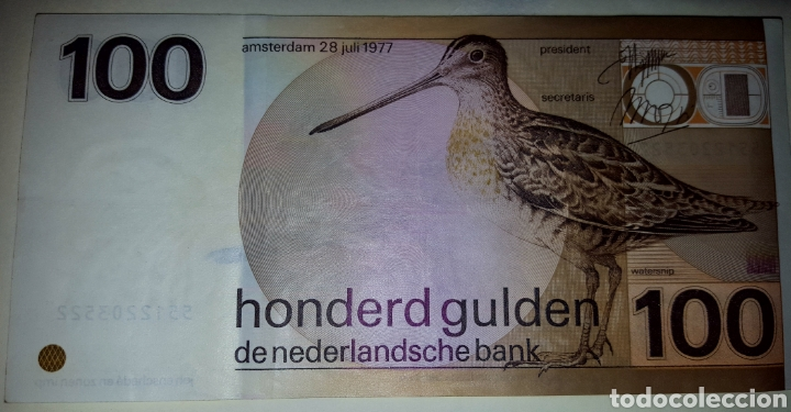Sellos: BILLETE HOLANDA : 100 Florines 1977 - Foto 3 - 223811067