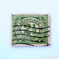 Sellos: SELLO POSTAL PAISES BAJOS HOLANDA 1899, 2 1/2 C, NÚMERO 2 1/2 EN OVALO,USADO. Lote 244696920