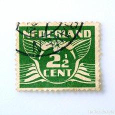 Sellos: SELLO POSTAL PAISES BAJOS HOLANDA 1927, 2 1/2 C, PALOMA Y NÚMERO,USADO. Lote 244707500