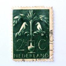 Sellos: SELLO POSTAL PAISES BAJOS HOLANDA 1943, 2 1/2 C, MOURNING BIRDS PAJAROS DE LUTO,USADO. Lote 244711735