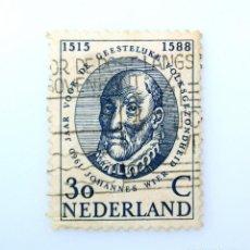 Sellos: SELLO POSTAL PAISES BAJOS HOLANDA 1960, 30 C, MÉDICO JOHANNES WIER (1515-1588) ,USADO. Lote 244716930